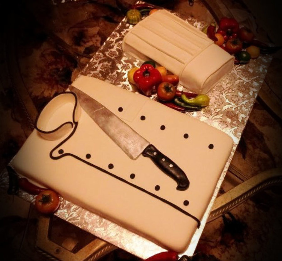 Chef Birthday Cake Jacket Knife And Hat Knife Is Made Of Fondant