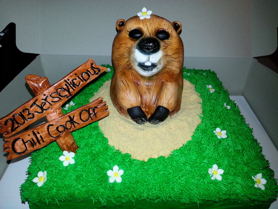 Happy Groundhogs Day I Loved Doing This Cake The Cake Itself Is Vanilla With Vanilla Bc The Groundhog Is A Rkc Covered In Fondant And Ai on Cake Central
