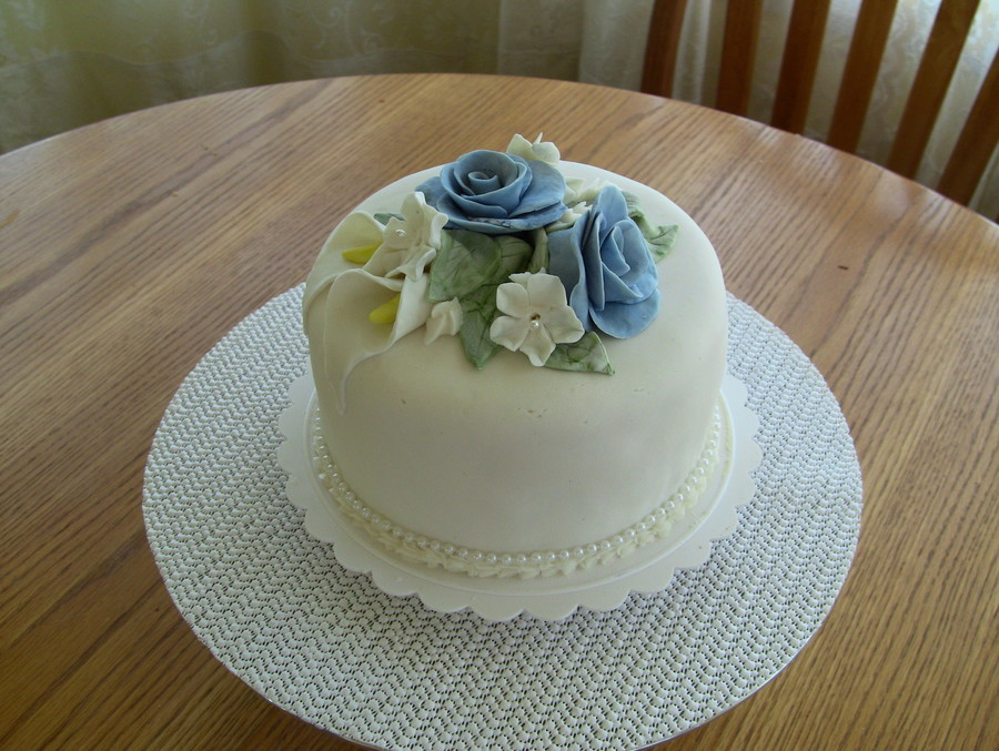 Cake Made For Cake Class Flowers Are All Fondant on Cake Central