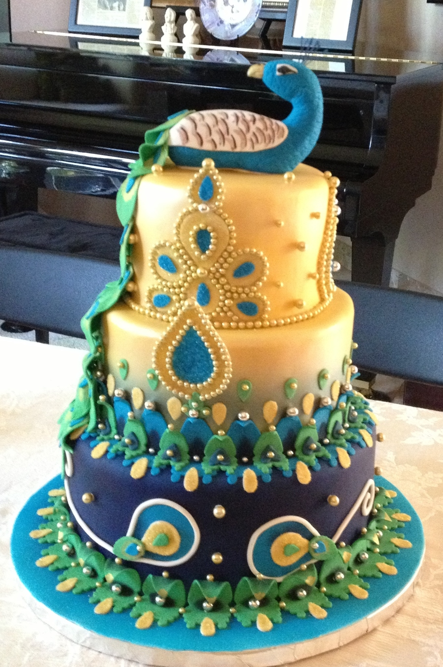 Indian Themed Peacock Cake