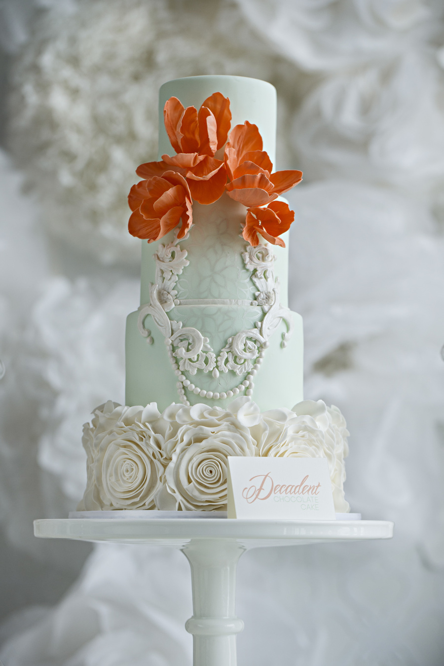 Mint Coral Rosette Ruffles And Delicate Frame Work Miv Photography on Cake Central