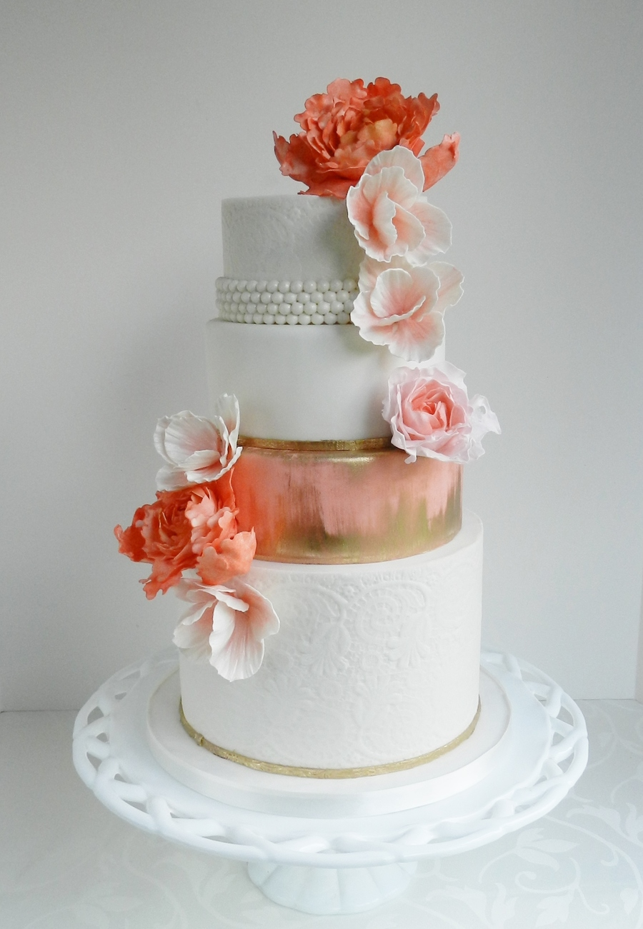 Enchanted Lace Pearls Gold Brush And Coral on Cake Central