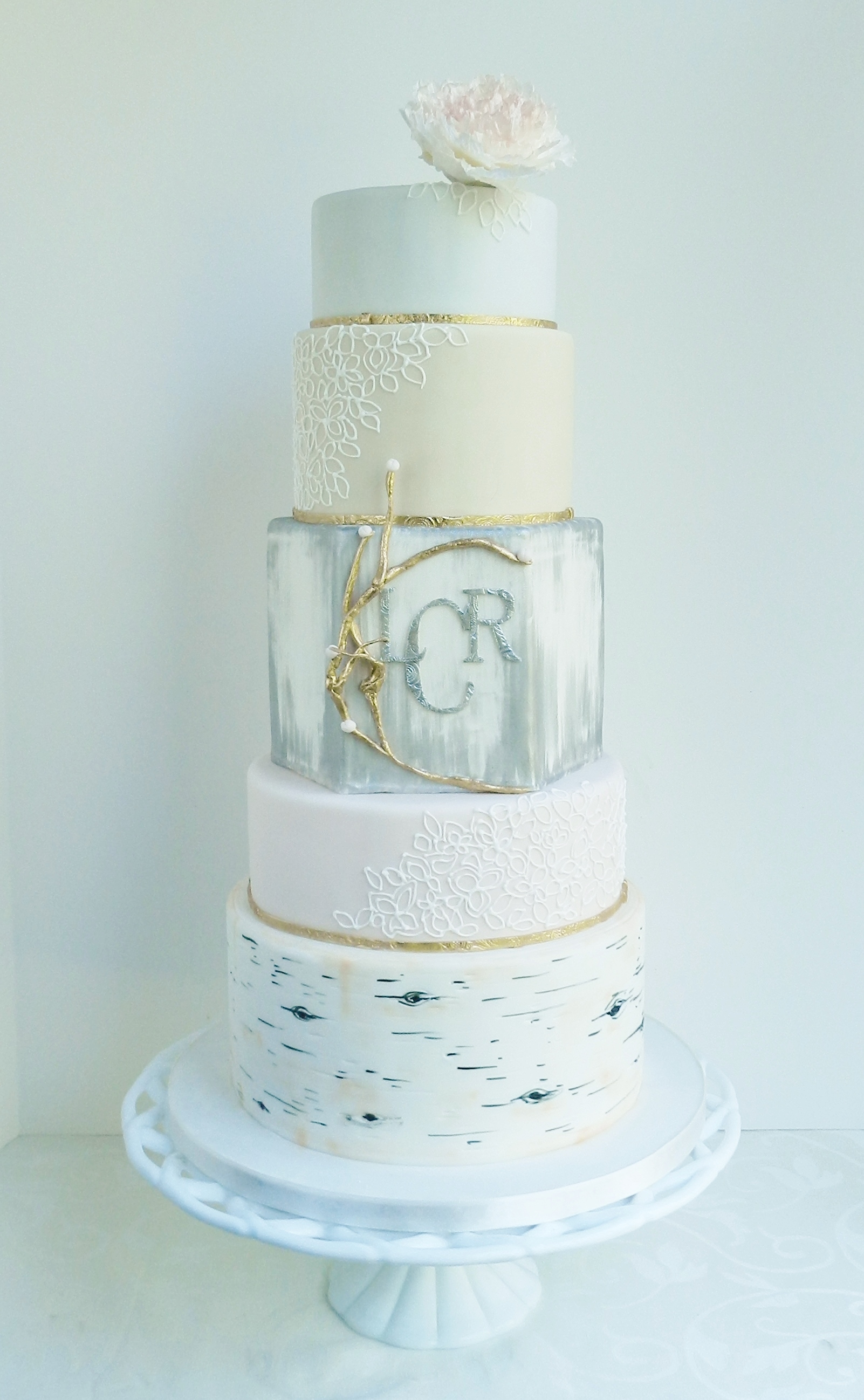 Grace Vintage Rustic Love With Birch Piped Lace And Silver Brush on Cake Central