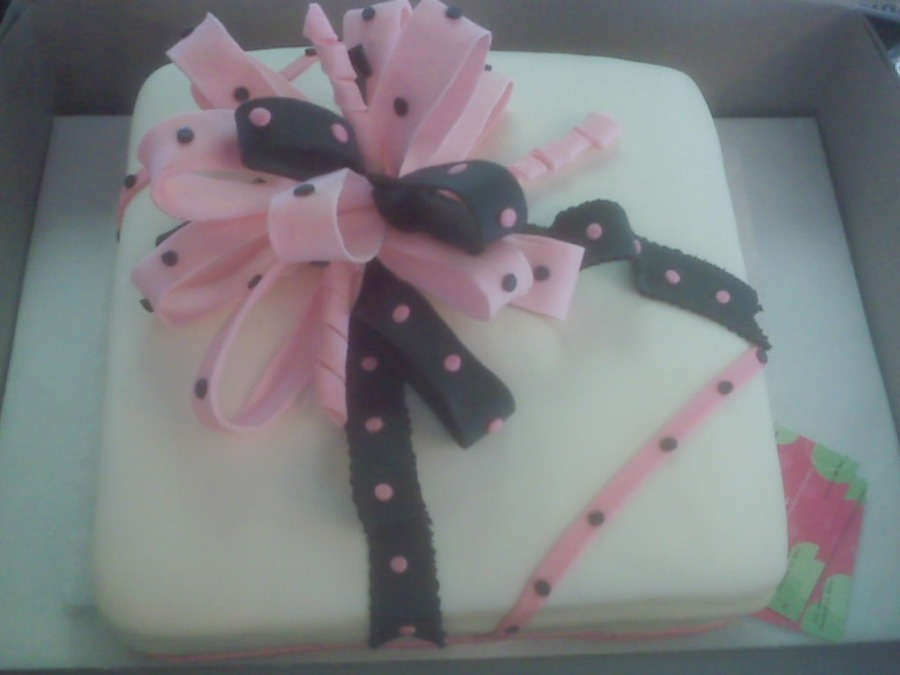 Pink And Black Birthday Cake on Cake Central