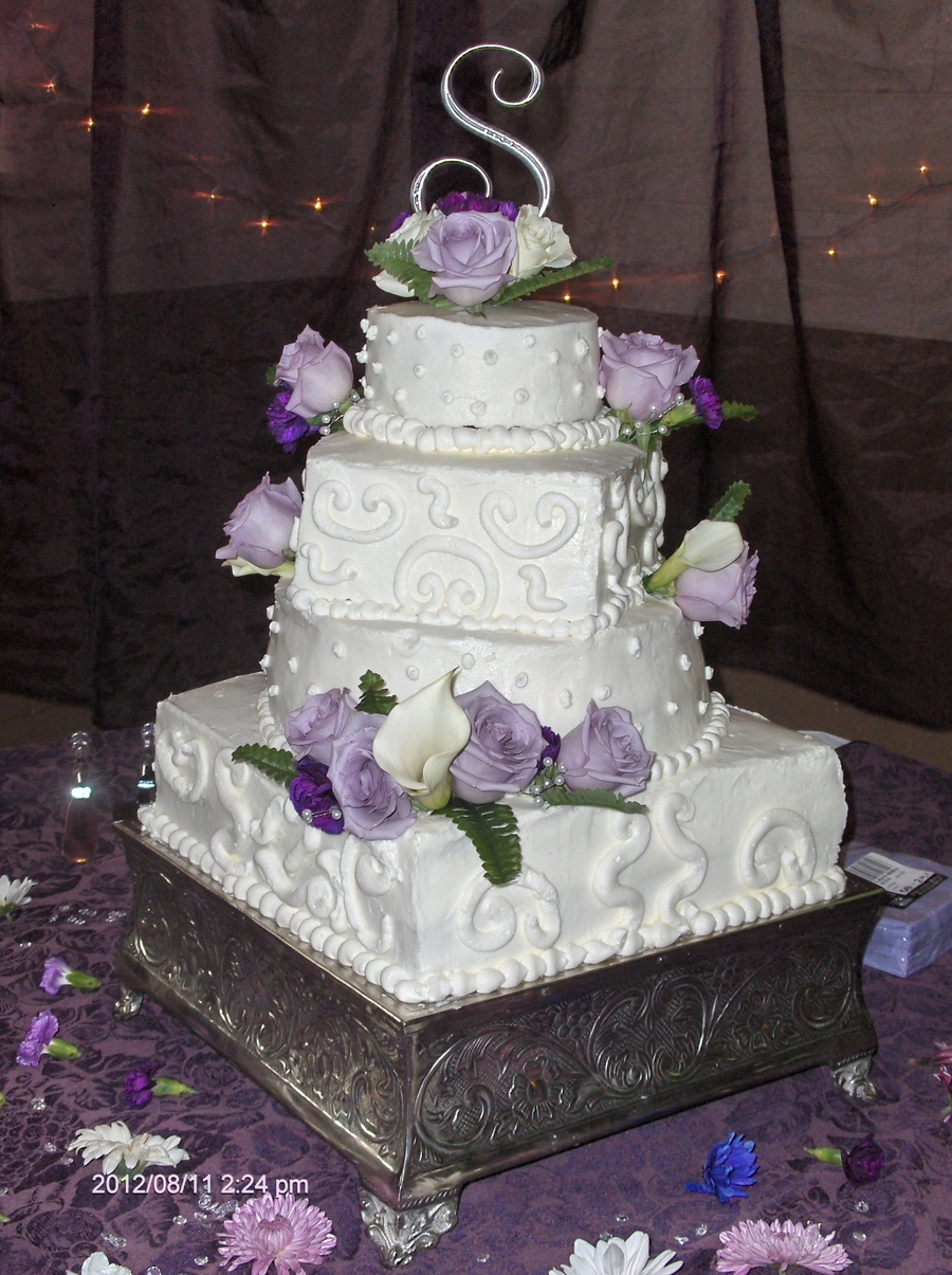 Square And Round Wedding Cake on Cake Central