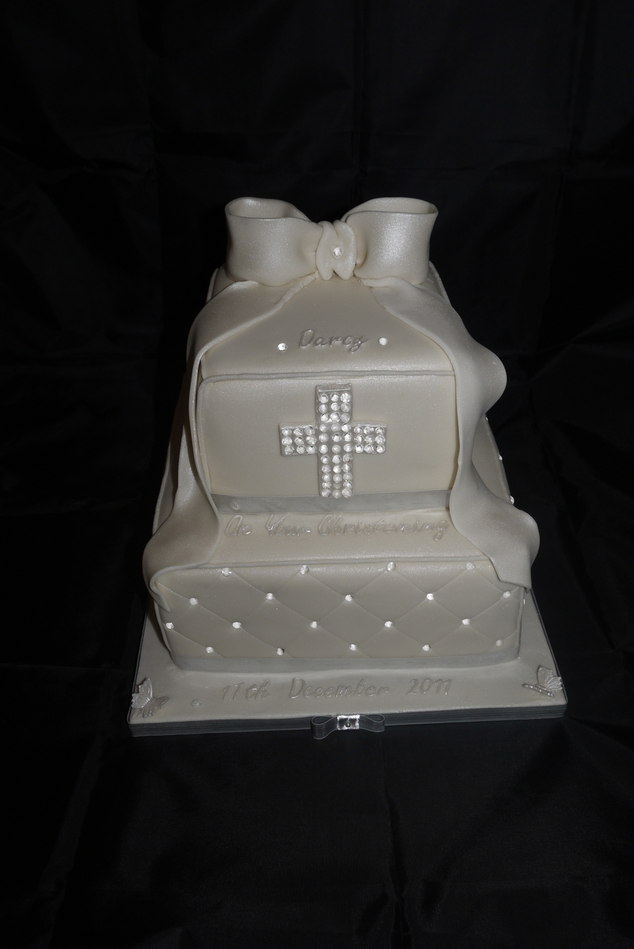 Christening Diamond Quilted Cake  on Cake Central
