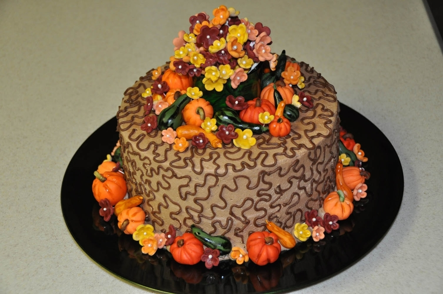 Fall Cake With Fondant Decorations on Cake Central