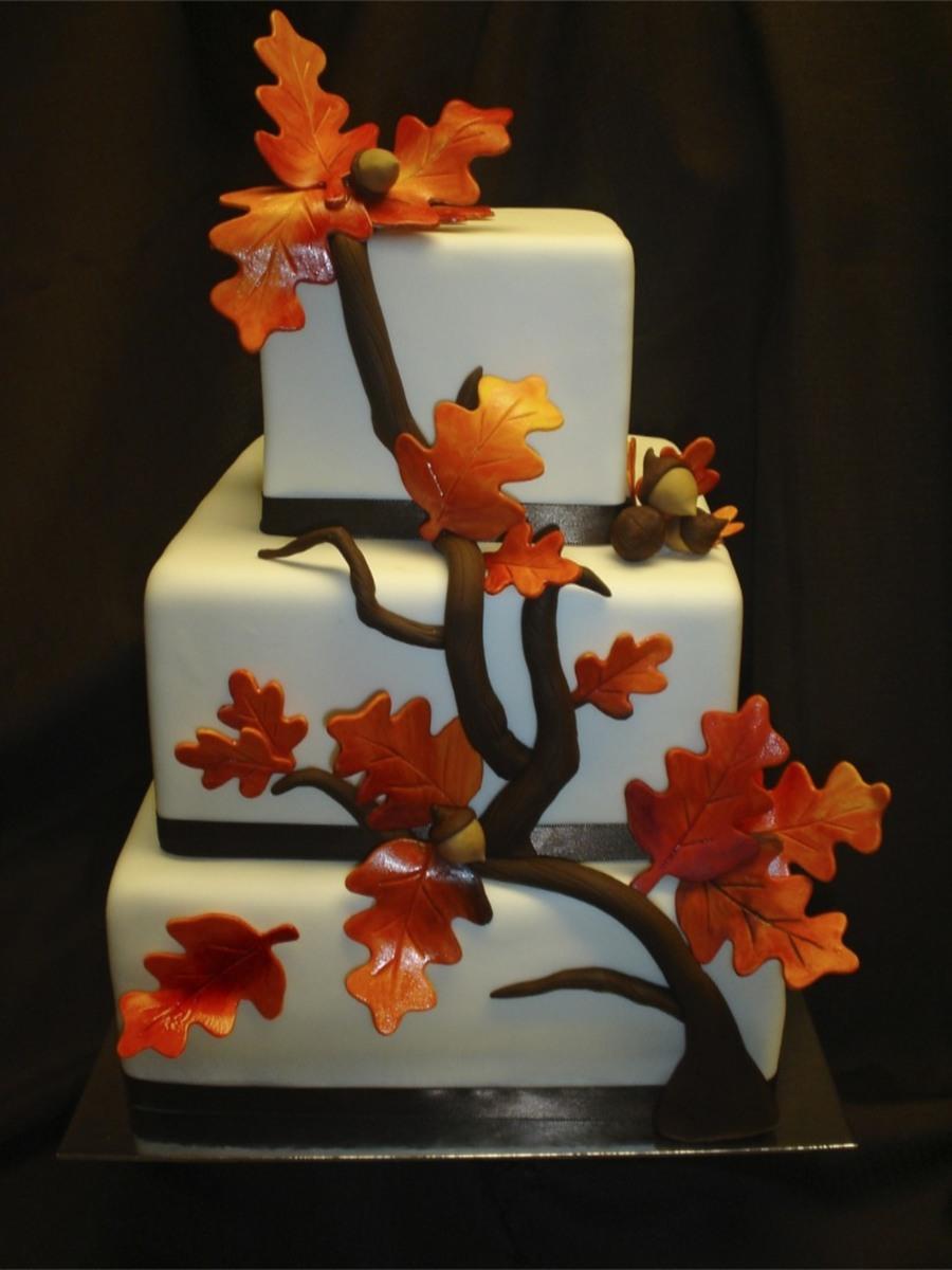 Fall Elegance Square Wedding Cake Cakecentral Com