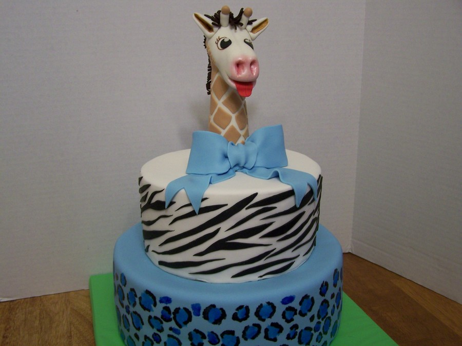 Safari Cake For Baby Shower Giraffe Cake Topper Is Gumpaste on Cake Central