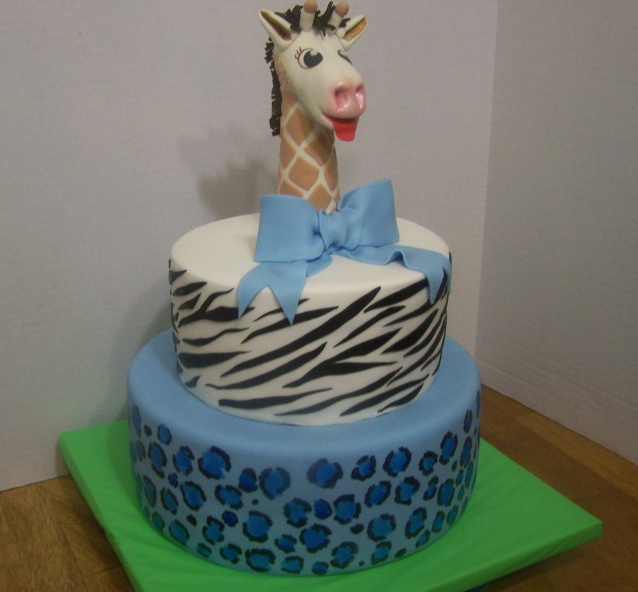Safari Print Baby Shower Cake With Giraffe Topper  on Cake Central