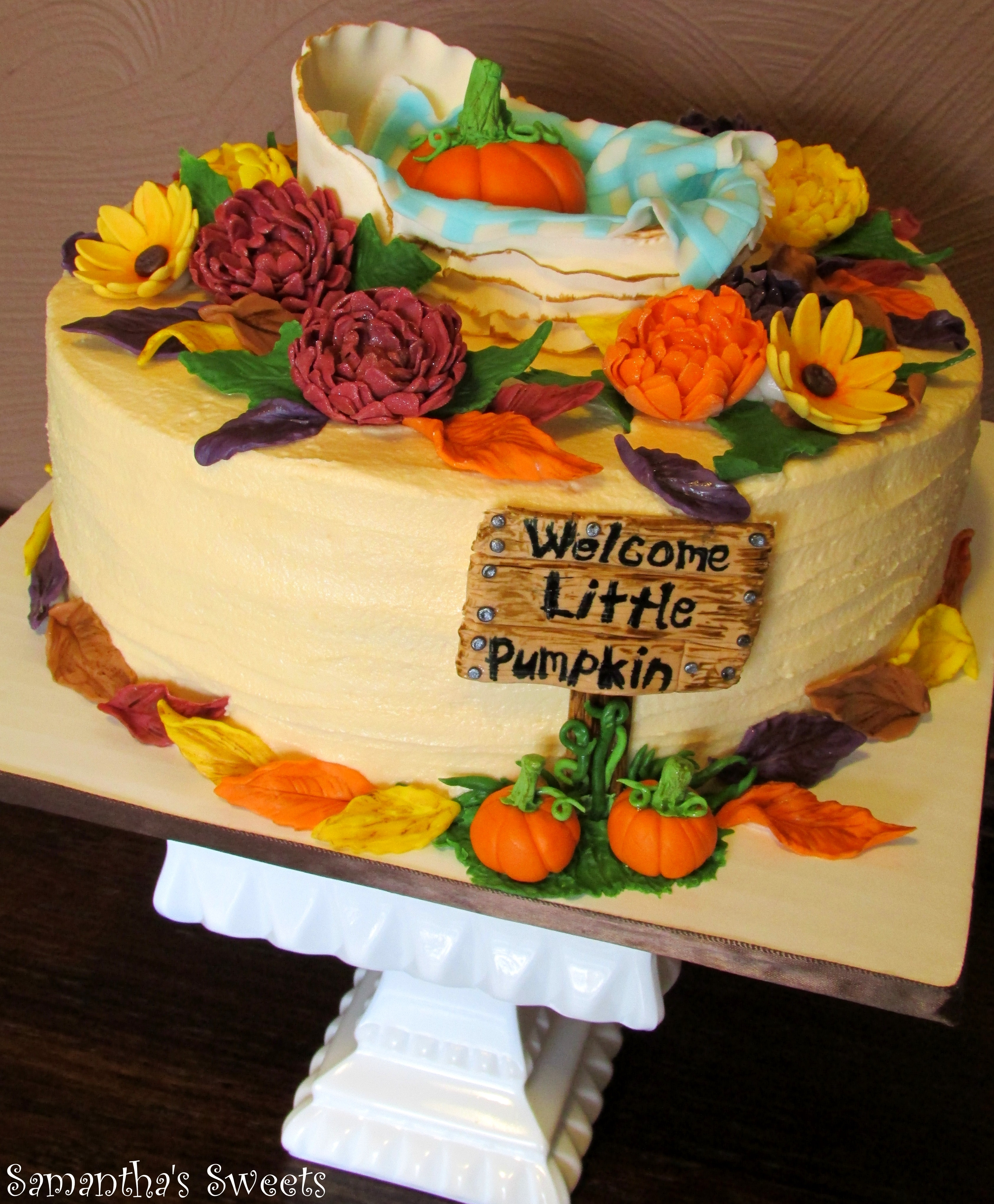 Fall Themed Baby Shower Cakes Part - 43: Welcome Little Pumpkin Baby Shower Cake By Samanthau0027s Sweets ~This Is My  Second Version Of The Fall Themed Welcome Little Pumpkin Cake!