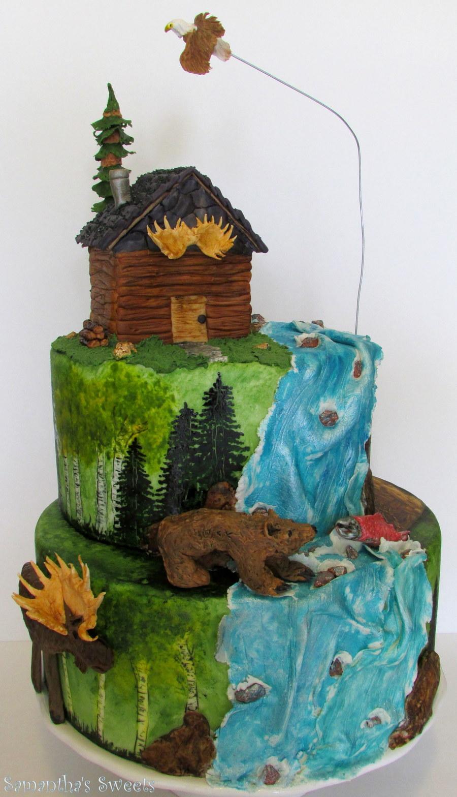 Outdoor Adventures Birthday Cake Hand Painted Fondant Cake