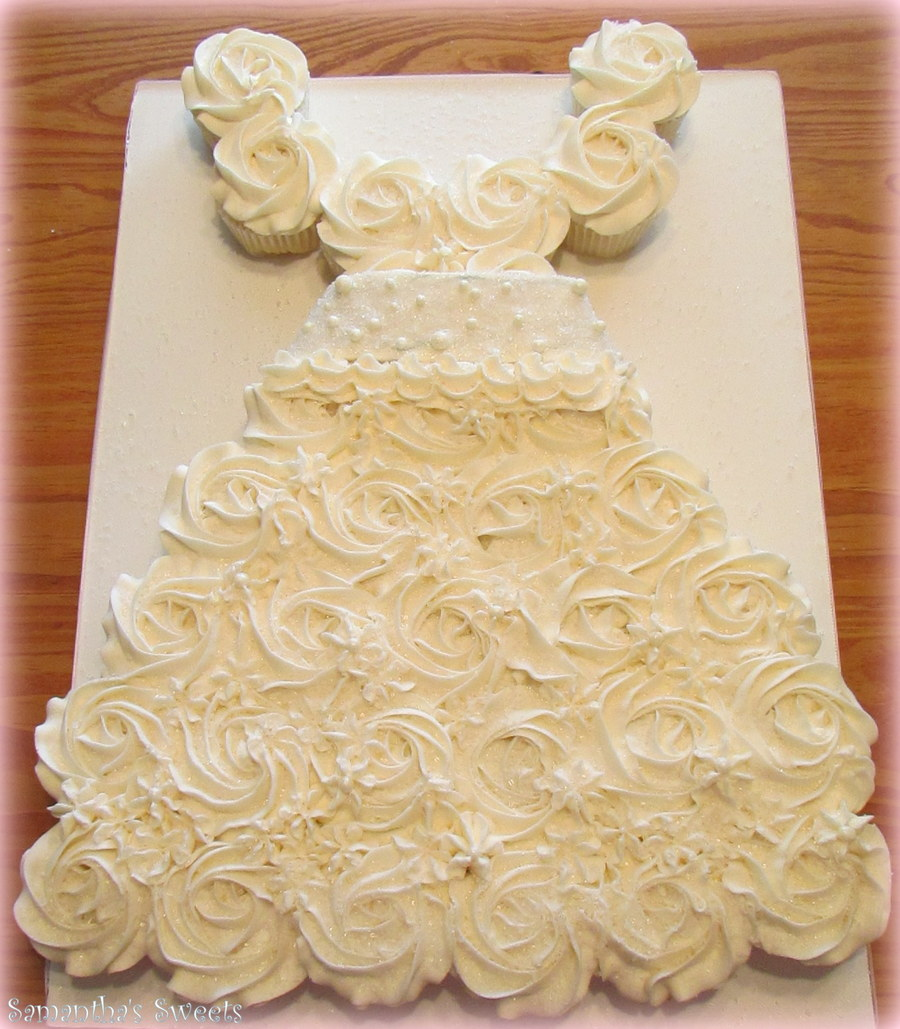 Bridal Dress Cupcake Cake - CakeCentral.com