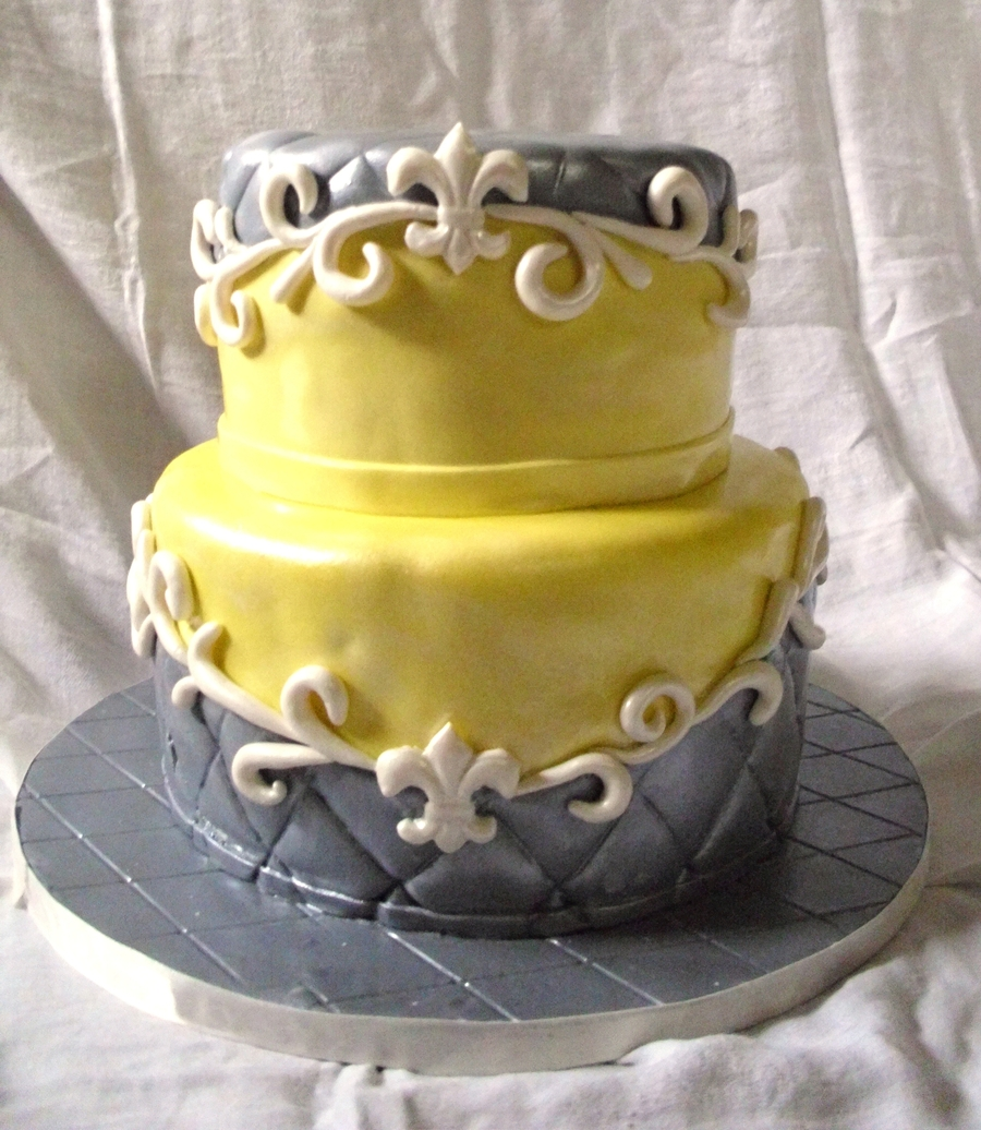 Grey And Yellow Wedding - CakeCentral.com