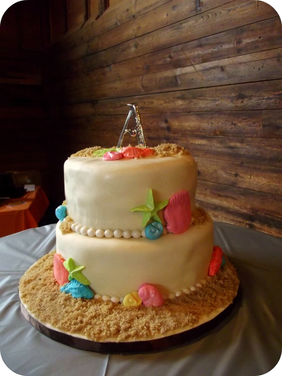 Beach Themed Wedding on Cake Central