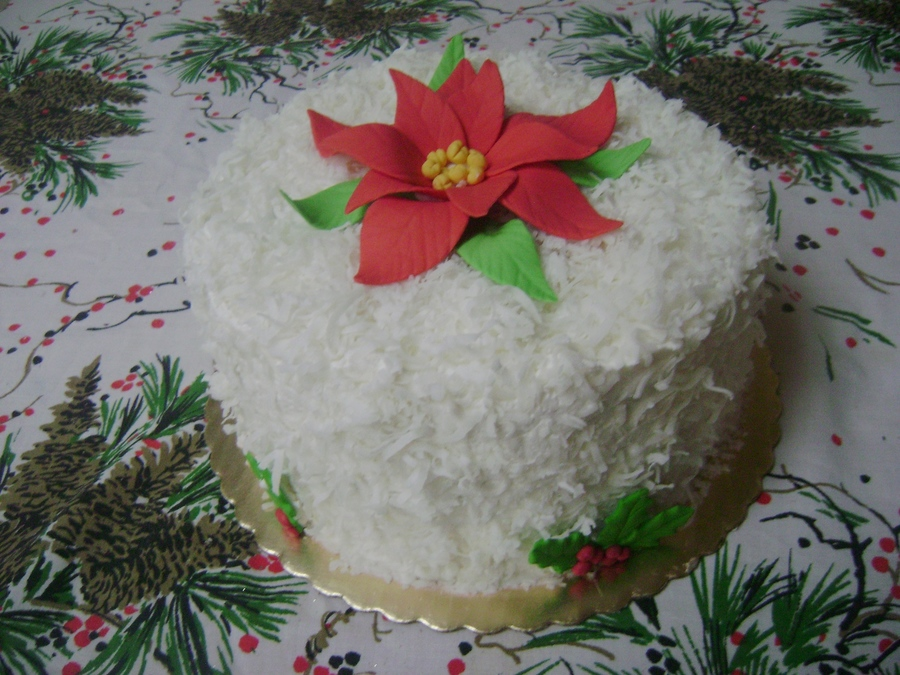 Poinsettia Coconut Cake on Cake Central