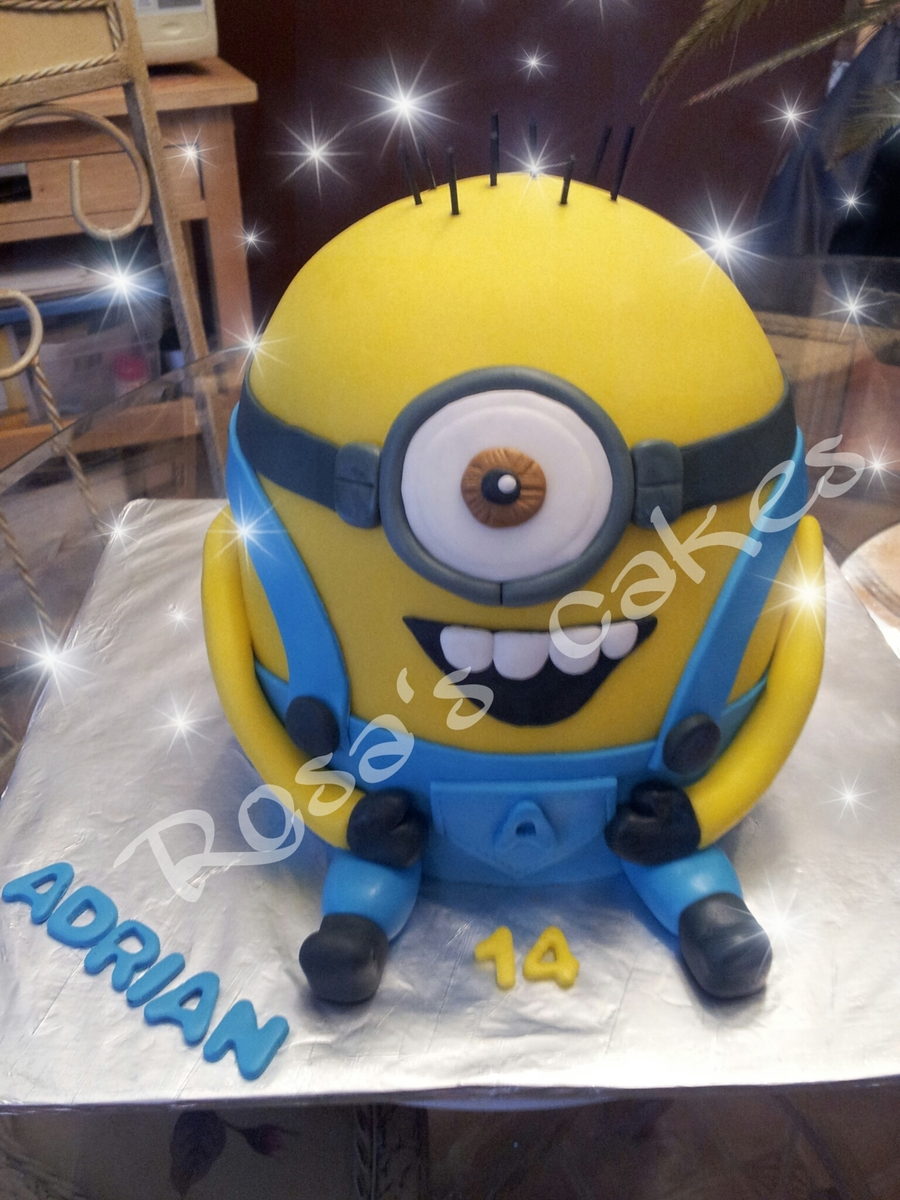 Sensational My Son 14Th Birthday Cake Thought Ill Make Him A Minion Cake He Personalised Birthday Cards Arneslily Jamesorg