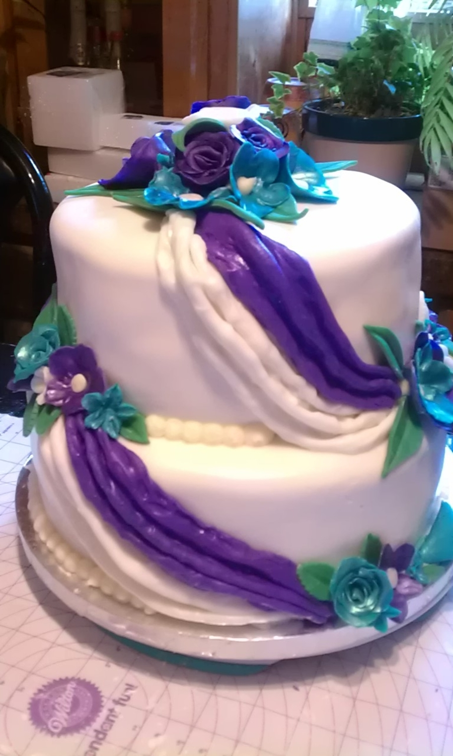 Purple & Teal Flowers & Drapes on Cake Central