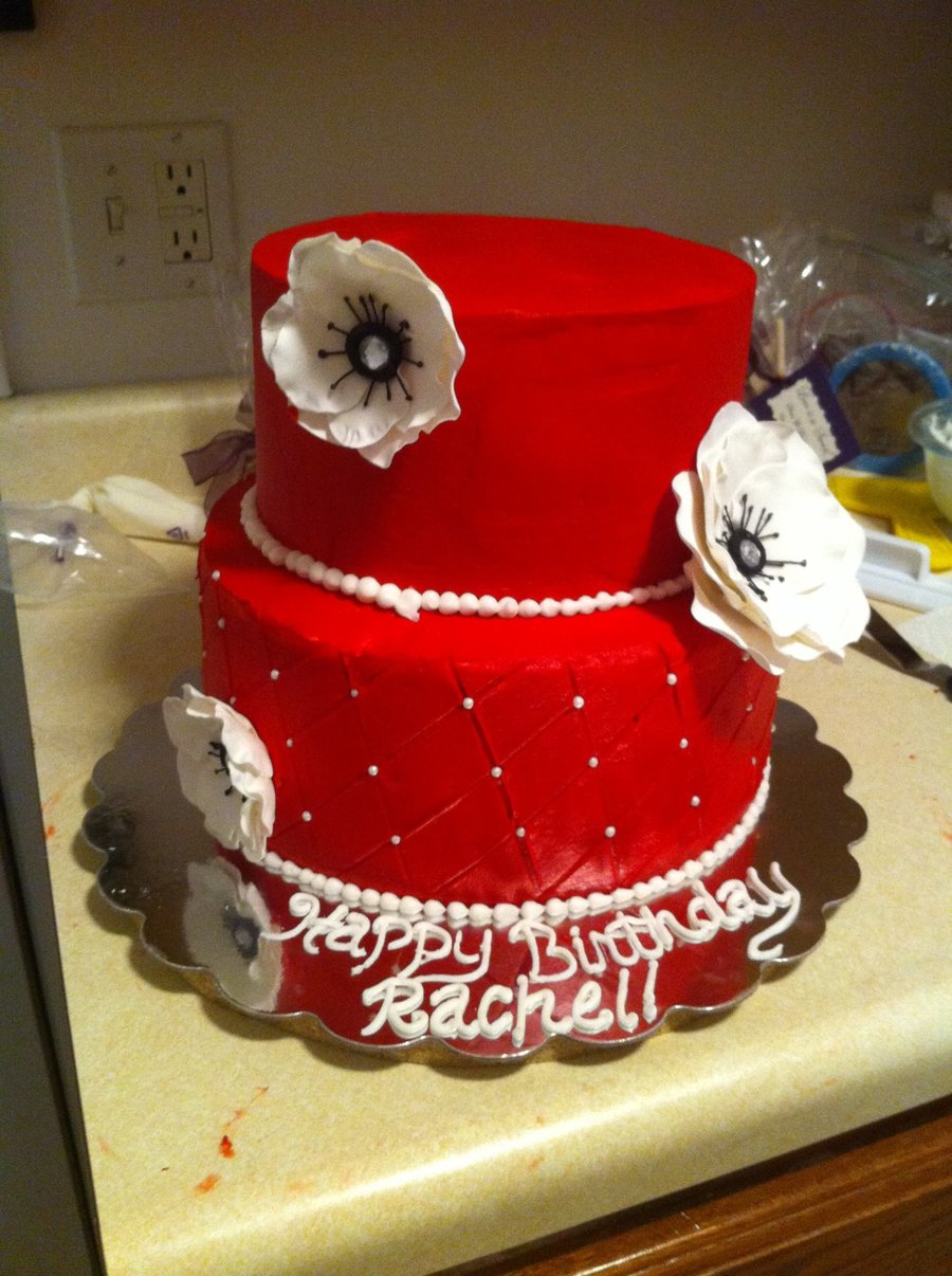 Terrific Red And White Birthday Cake Cakecentral Com Funny Birthday Cards Online Alyptdamsfinfo