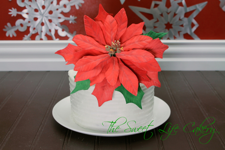 Eggnog Cake With Textured Buttercream And A Very Large Gum Paste Poinsettia on Cake Central