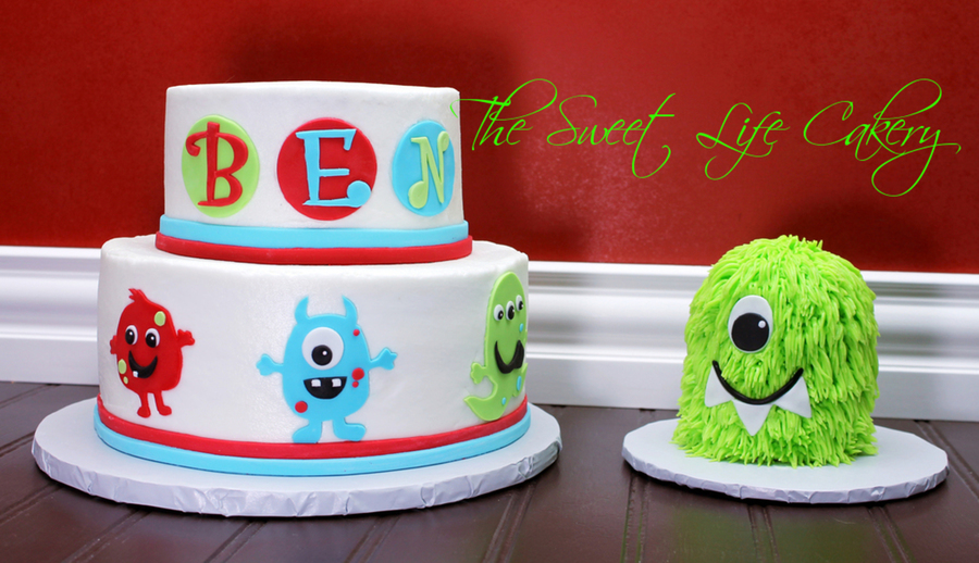 Monster Birthday Cake Made To Match Invitation With Matching Smash Cake Yellow Cake And Chocolate Cake Covered In Bc With Fondant Accents on Cake Central