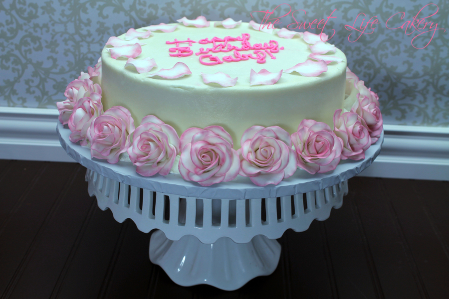Strawberry Cake Covered In Bc With Gum Paste Roses And Rose Petals Customer Asked For A Cake Just Like Selena Gomezs Rose Cake on Cake Central