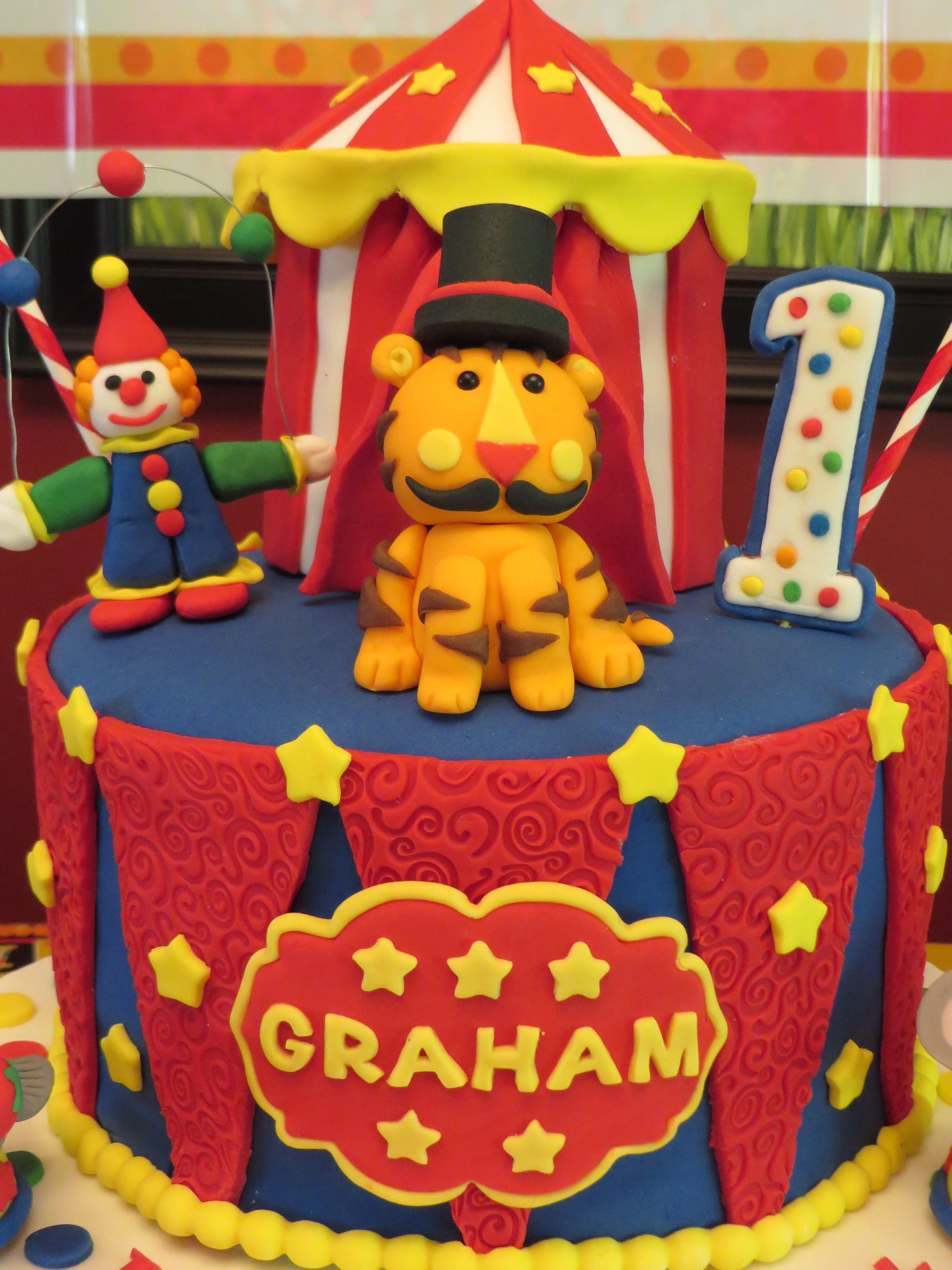 Circus theme cake for my Grandsonu0027s first birthday! 8  Vanilla cake w/vanilla icing and circus tent is 4  chocolate cake w/ vanilla icing. & Circus Theme Cake For My Grandsons First Birthday 8 Vanilla Cake ...