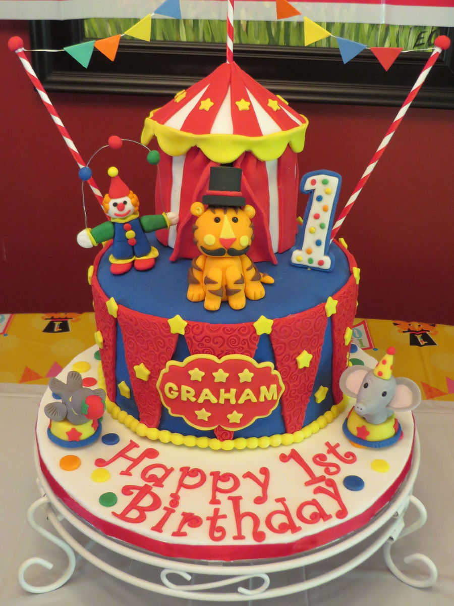 Circus theme cake for my Grandsonu0027s first birthday! 8  Vanilla cake w/vanilla icing and circus tent is 4  chocolate cake w/ vanilla icing. All decorations ... : circus tent decorations - memphite.com