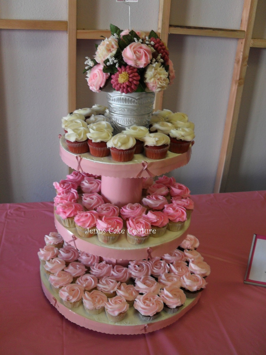 Pink Ribbons And Flowers on Cake Central