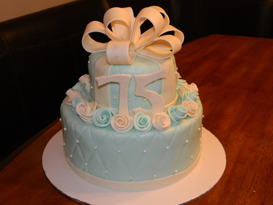 75Th Birthday Cake Tiffany Blue on Cake Central