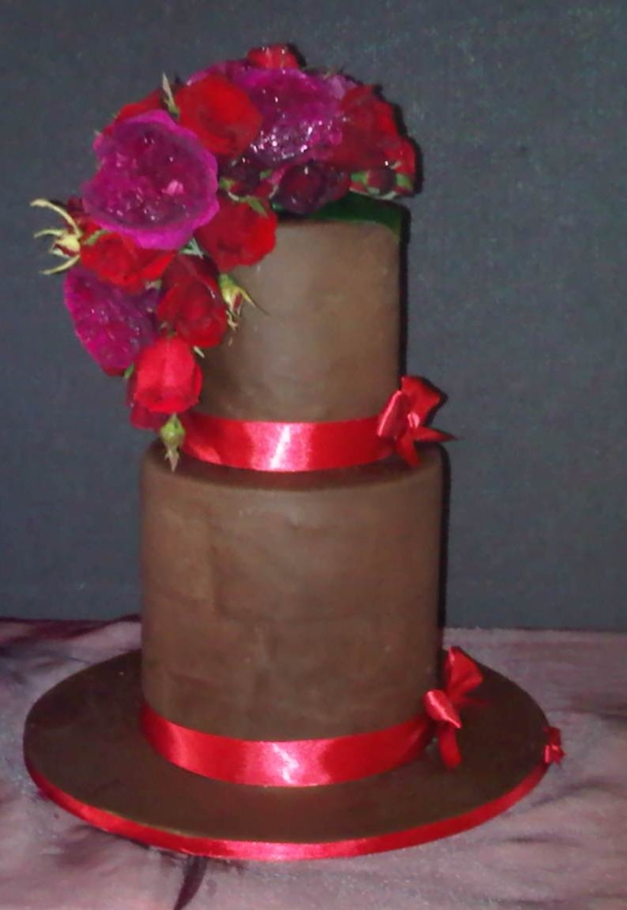 Chocolate Double Tier With Real Flowers on Cake Central