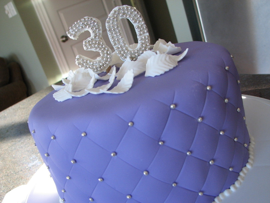 Made This Cake For My Best Friends Surprise Birthday Party Used Her Favorite Colour Purple Covered In Fondant Silver Dragees And Topped With White