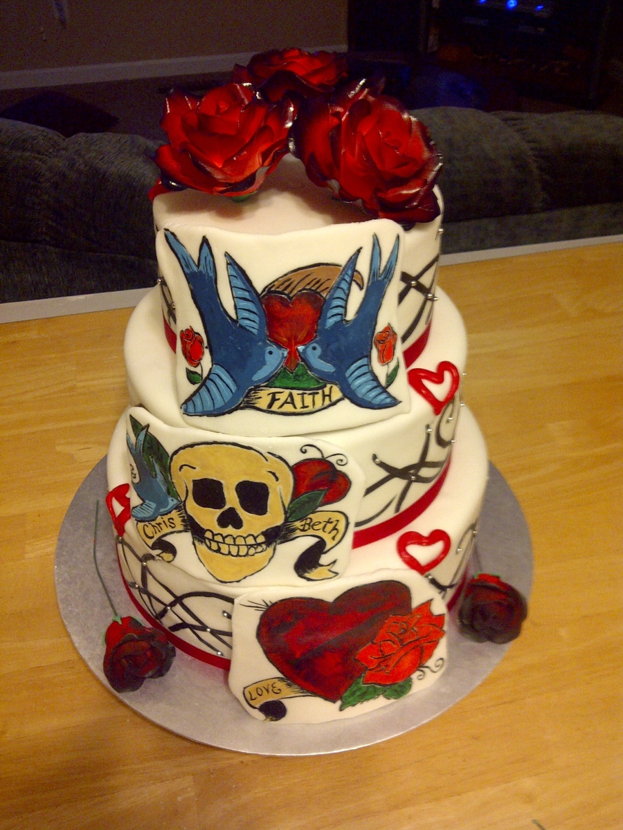 Free Hand Painted Ed Hardy Print With Gumpaste Roses Wedding Cake on Cake Central