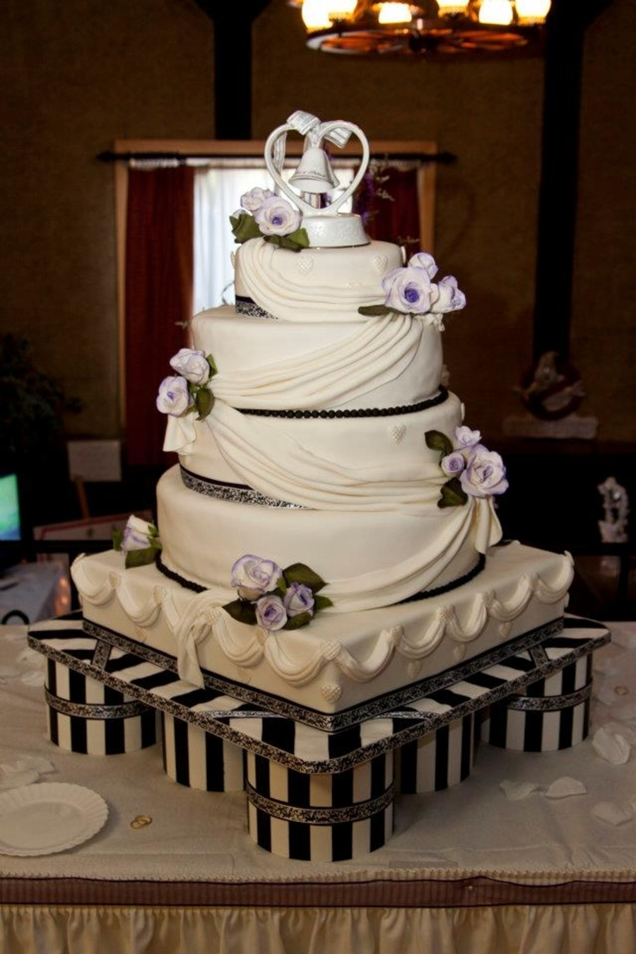 Purple,black And White Wedding Cake on Cake Central