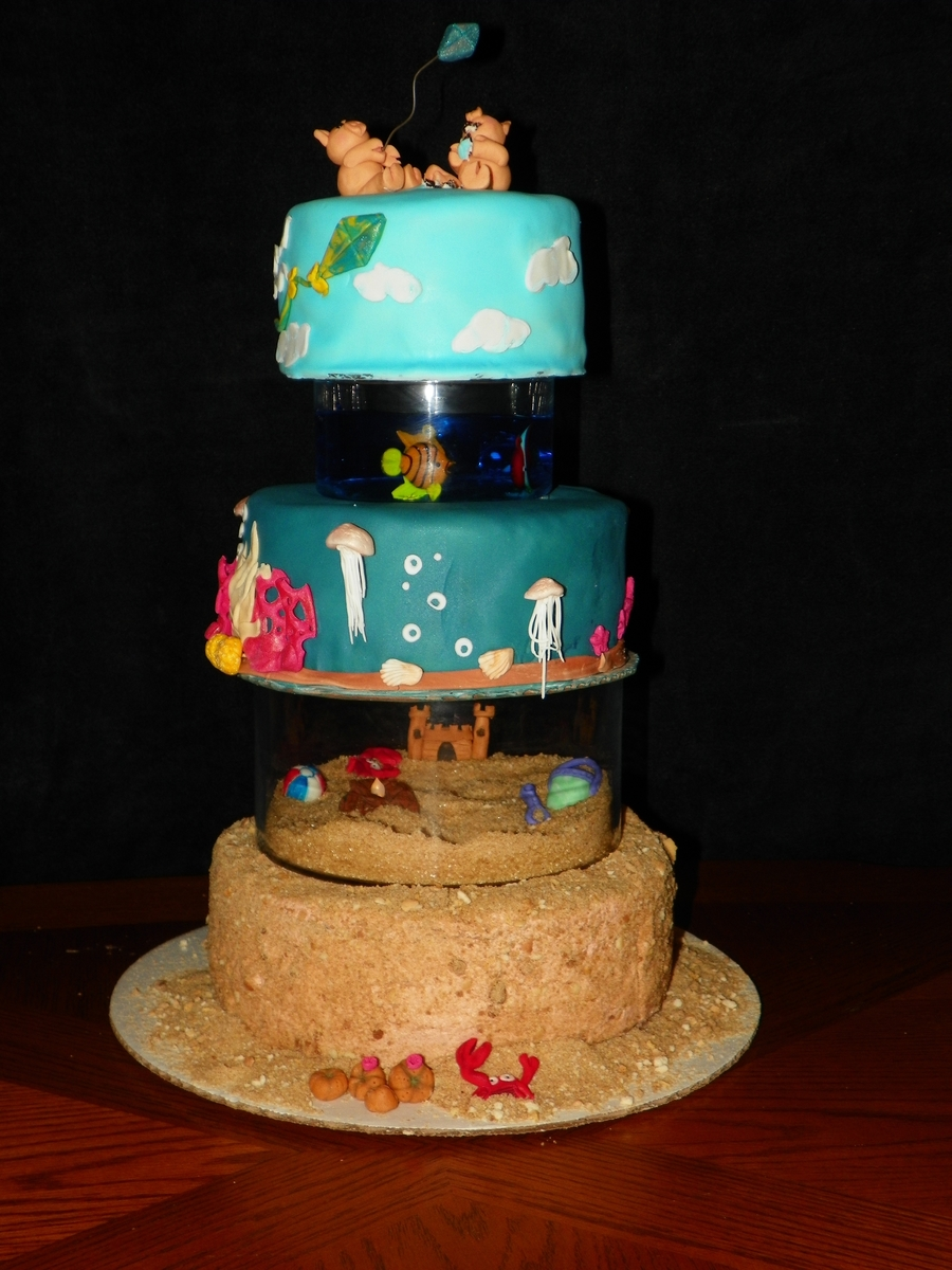 Quot Floating Quot Tiered Beach Theme Cake Cakecentral Com