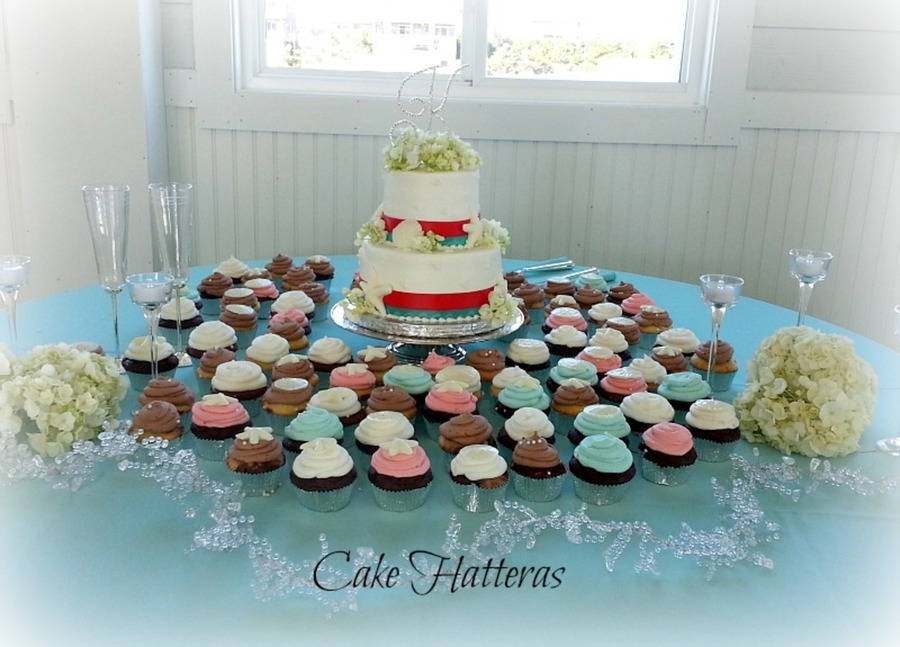 8 5 Carrot Cake Surrounded By 80 Cupcakes Which Have Been Iced With Tinted Icing To Match The Brides Colors And White Chocolate Seashells on Cake Central