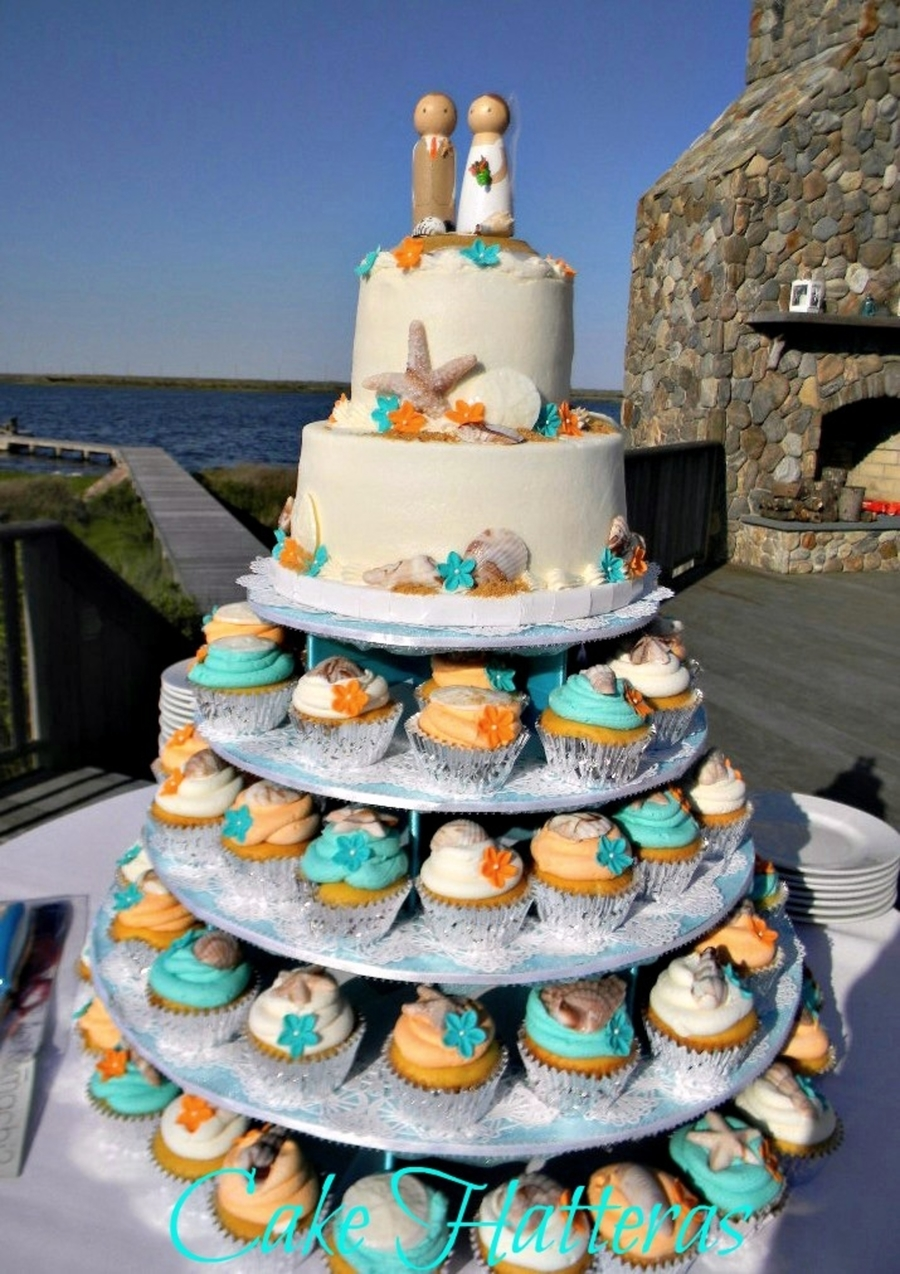Teal Beach Wedding Square Cake Design