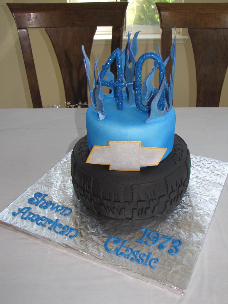 Chevy Themed Birthday Cake Gumpaste Numbers Flames And Emblem
