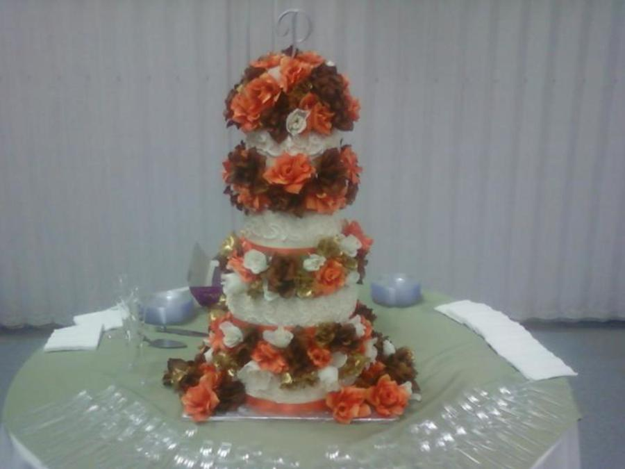 Fall Flowers Wedding Cake on Cake Central
