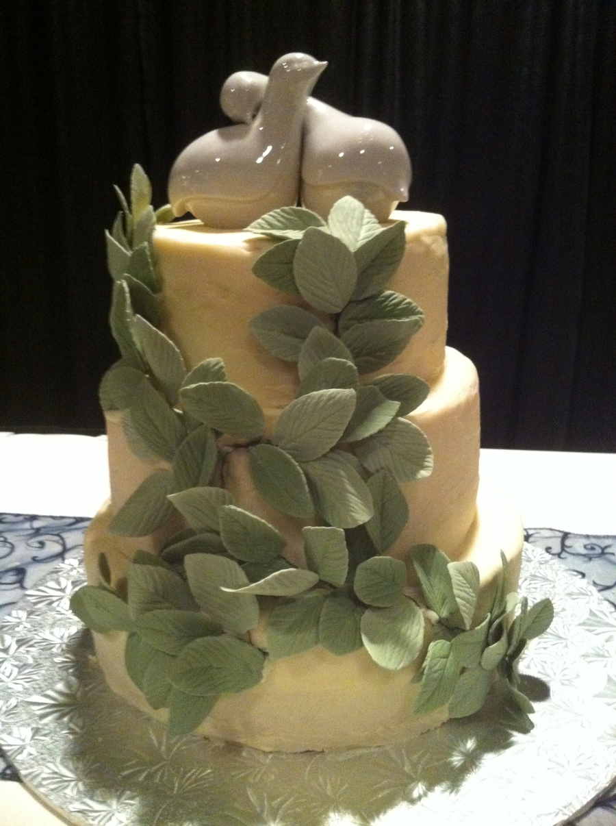 Friends Wedding Cake - Butter Cream With Gumpaste Leaves on Cake Central