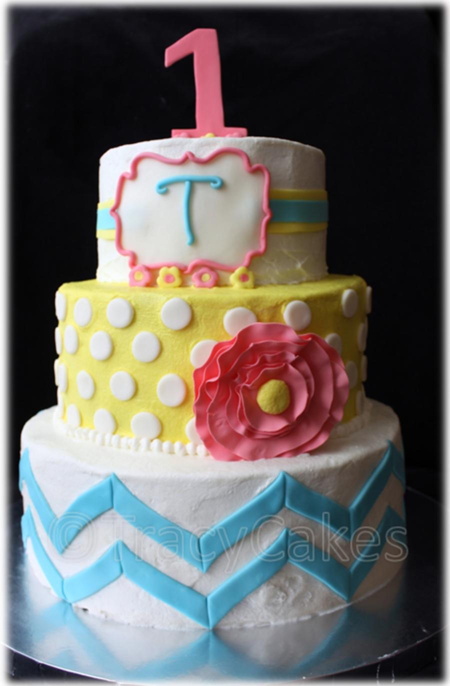Girly Modern Chic 1St Birthday Cake CakeCentralcom