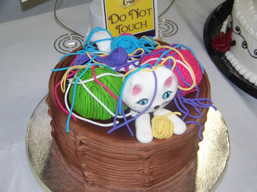 Cat In The Yarn Basket on Cake Central