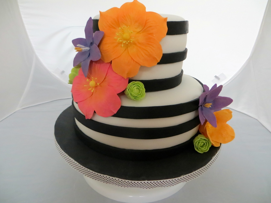Black Amp White Birthday Cake Adorned With Brightly Colored Sugar Flowers on Cake Central