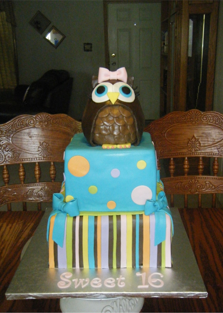 Owl Birthday Cake on Cake Central