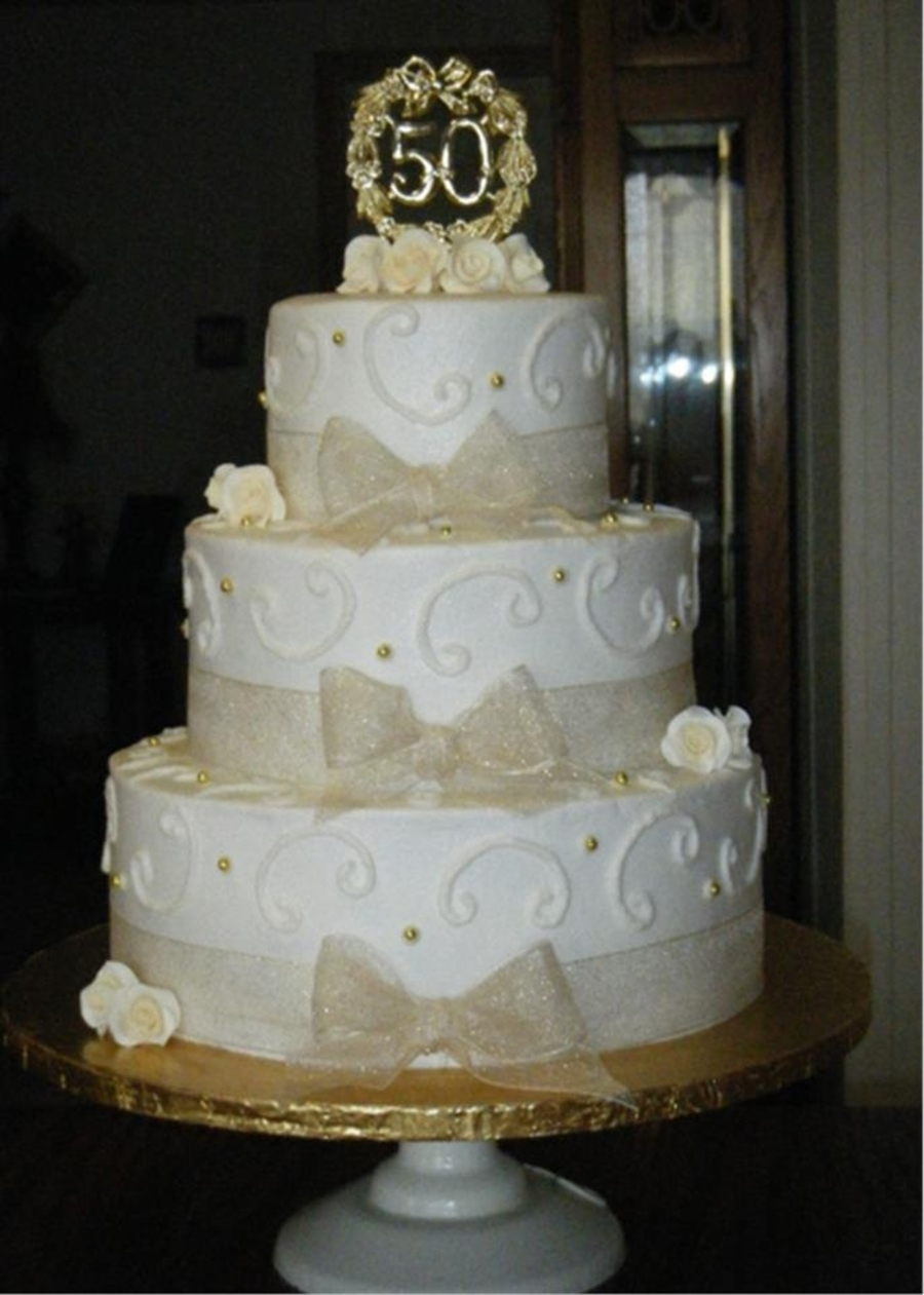 50Th Wedding Anniversary Cake - CakeCentral.com