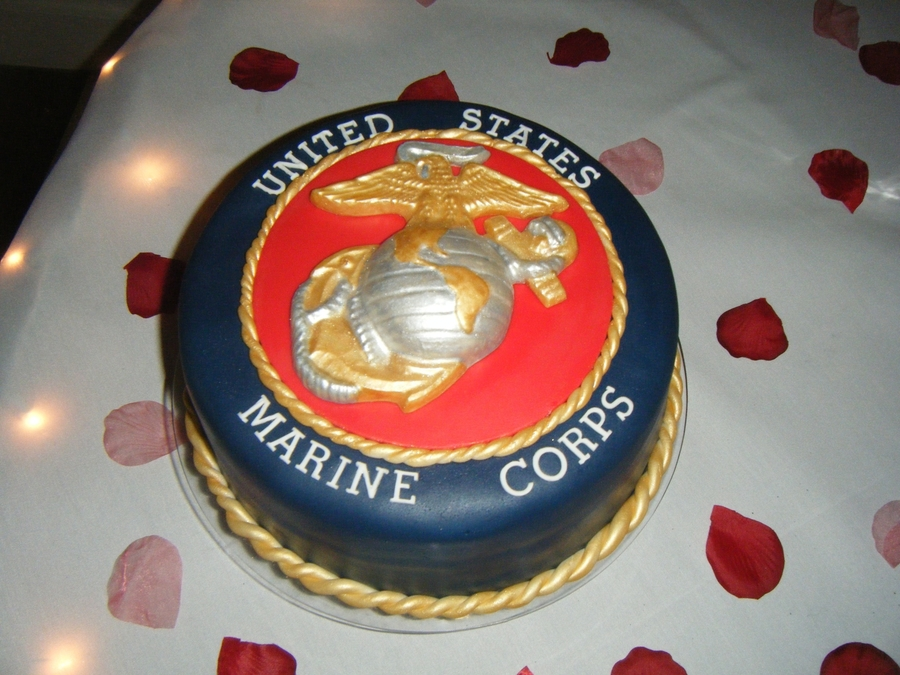 Marines Grooms Cake on Cake Central