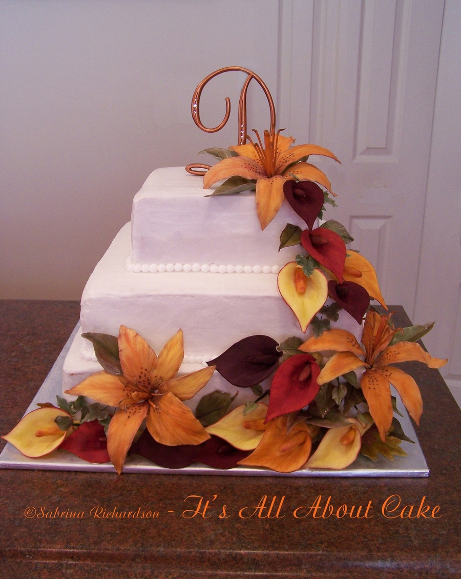 Wedding Cake With Lillies on Cake Central