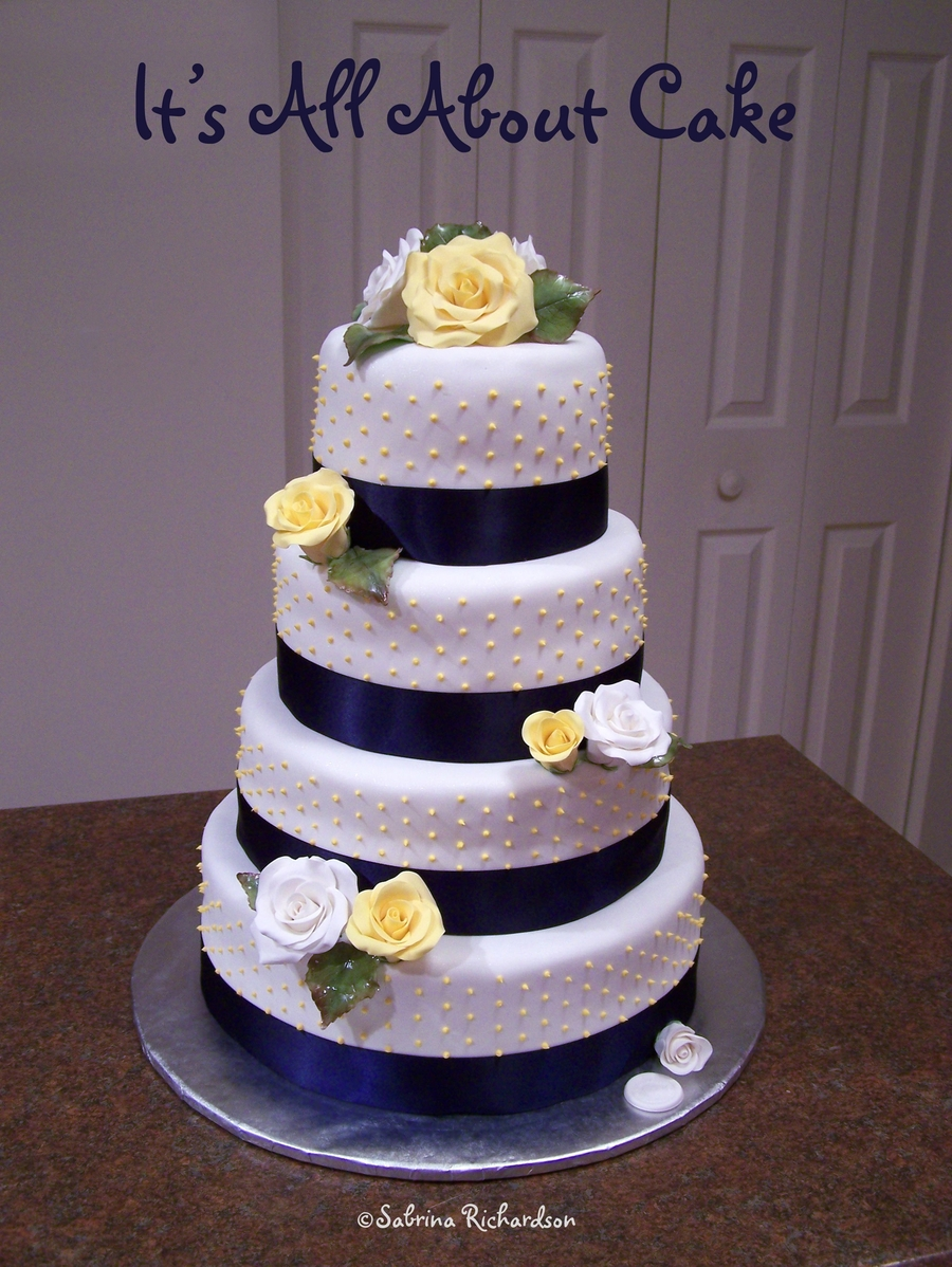 Wedding Cake With Roses And Ribbon on Cake Central
