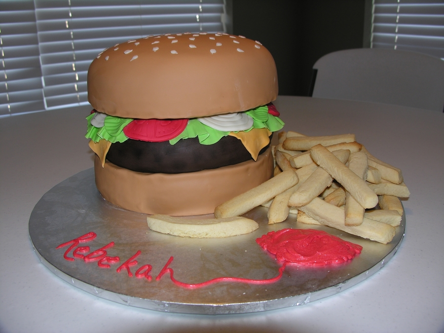 Hamburger (Aka Krabby Patty) on Cake Central