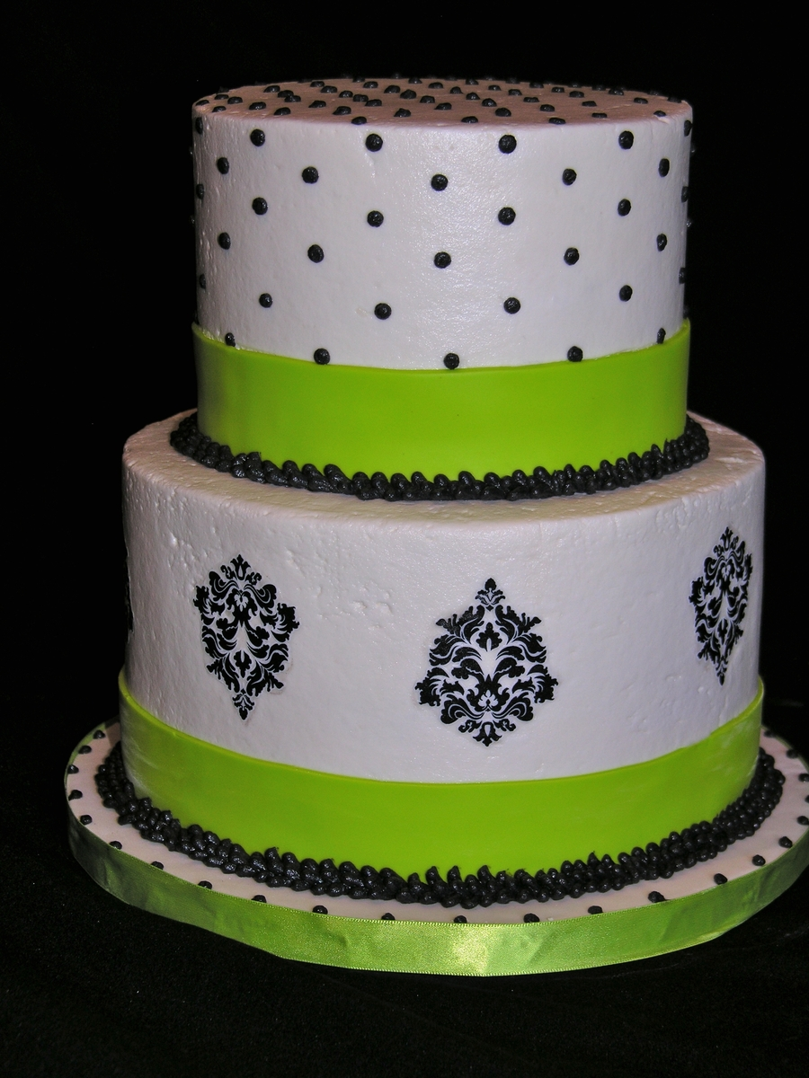 Black White And Lime Green 40Th Birthday Cake On Central